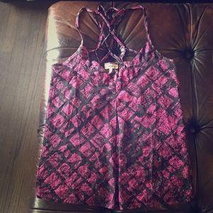 O'Neill Strappy Back Black & Pink chiffon blouse